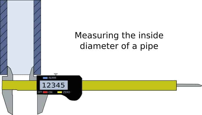 using digital calipers to measure the inside of a pipe