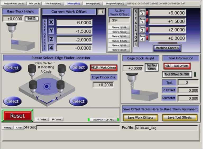 Mach3 offsets screen