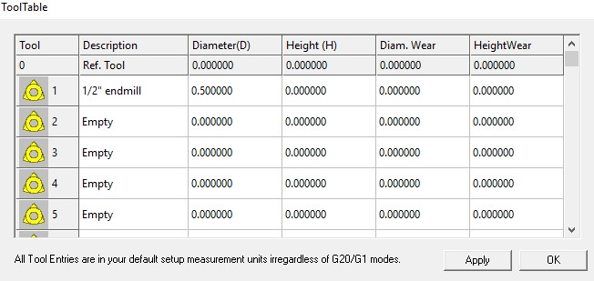 """mach3 tool table showing .5"""" offset"""