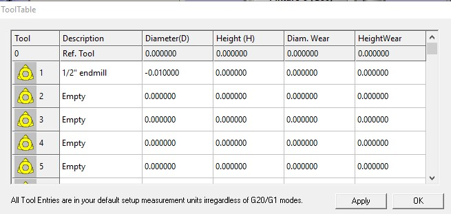 mach3 tool table showing -.01 offset
