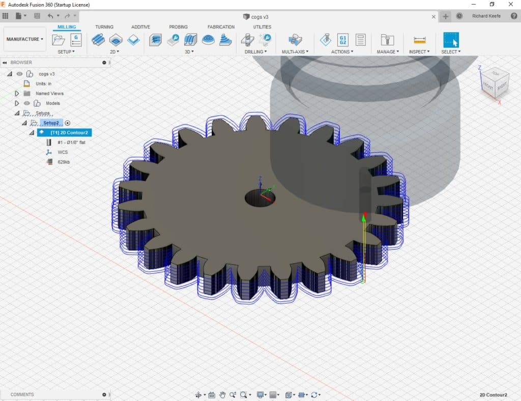 generated cutter paths in fusion 360