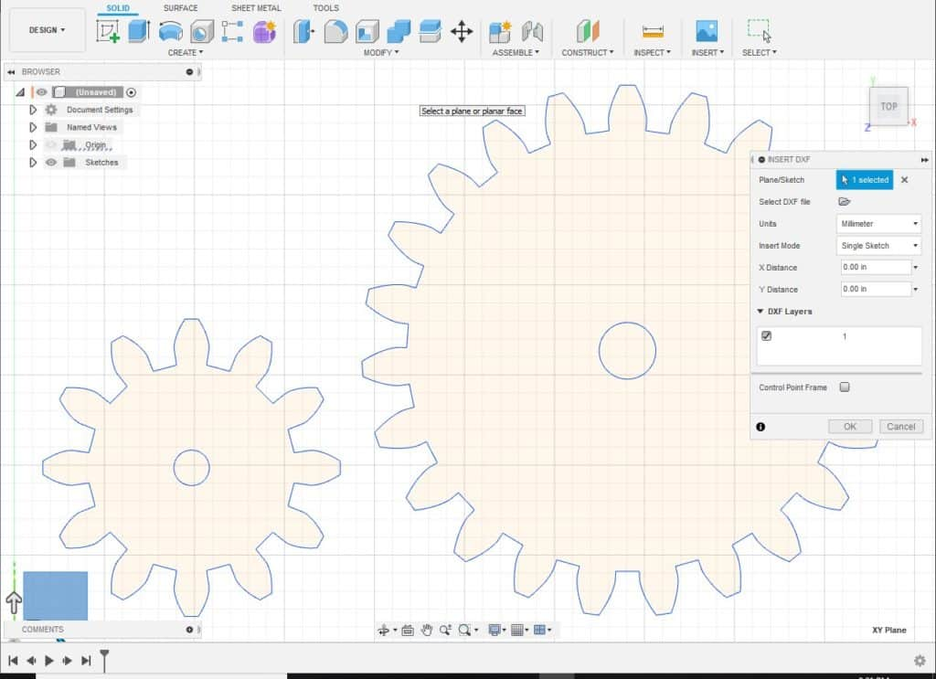 insert dxf file into fusion 360