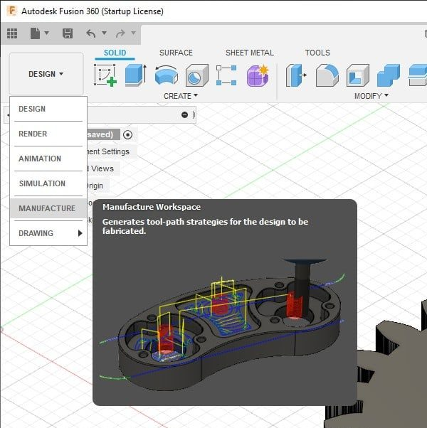 manufacture workspace in fusion 360