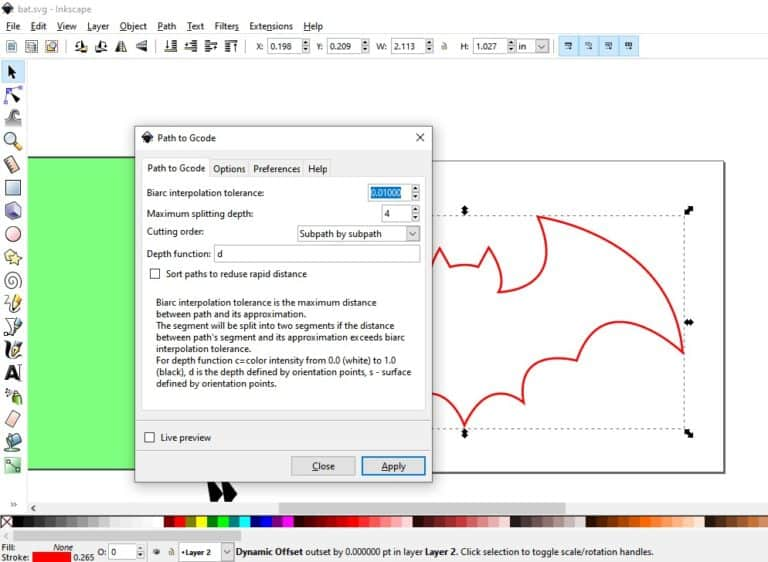 producing g-code with inkscape