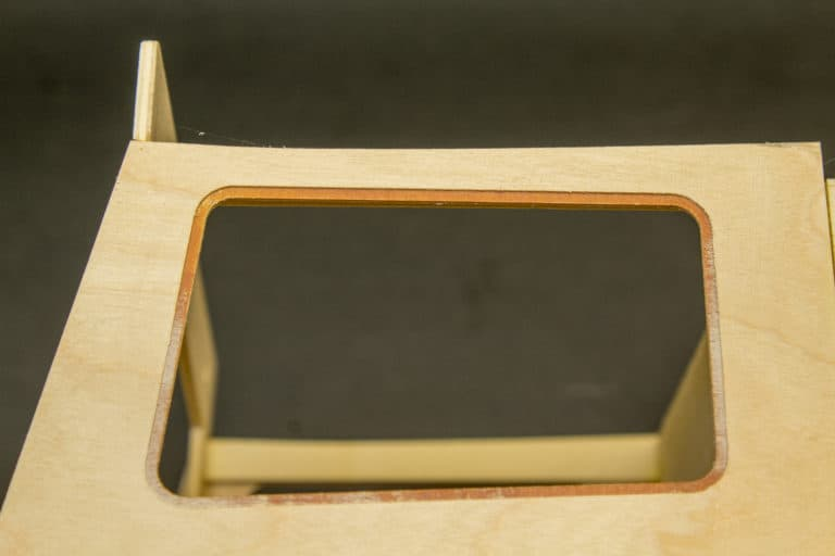 window frame of a scale model of a cessna