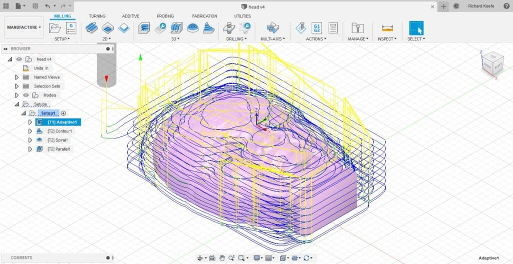 adaptive roughing toolpath