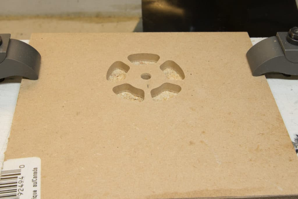 cutouts machined in the stock