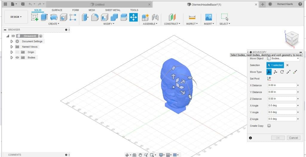 moving an object in fusion 360