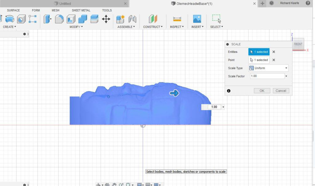 scale option in fusion 360