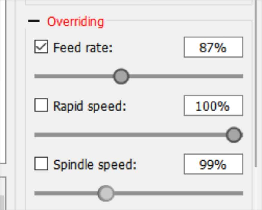 candle feed and speed override controls