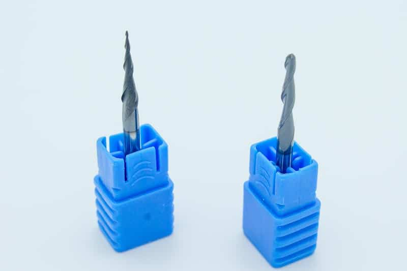 Two tapered ball end mills