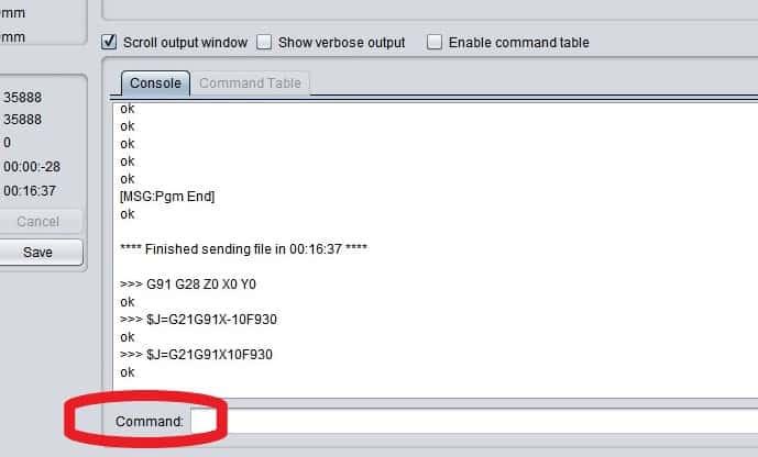 Universal Gcode Sender command input