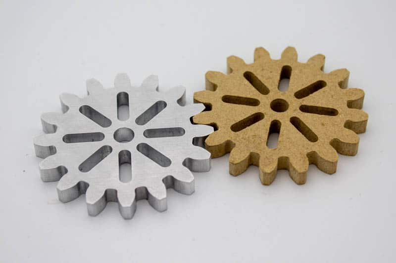 wood and aluminum gear wheels