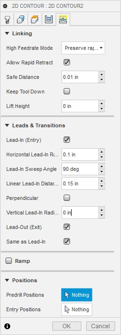 Set your linking and lead-in lead-out values