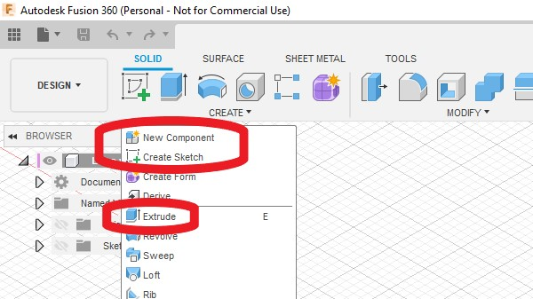The create dropdown menu in the design workspace