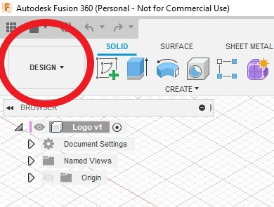 fusion 360 workspace menu